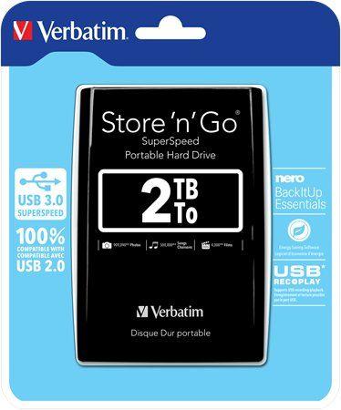 """2,5"""" HDD (pevný disk), 2TB, USB 3.0, VERBATIM, čierny"""