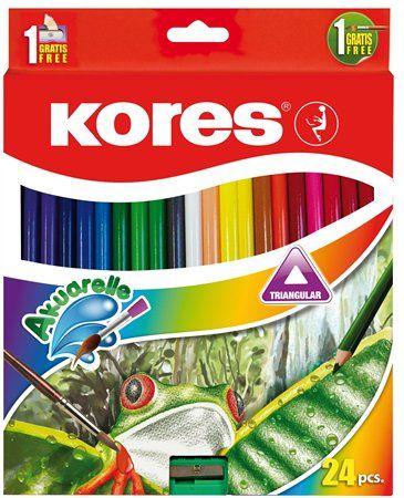 Akvarelové ceruzky, so strúhadlom a štetcom, KORES, 24 rôznych farieb