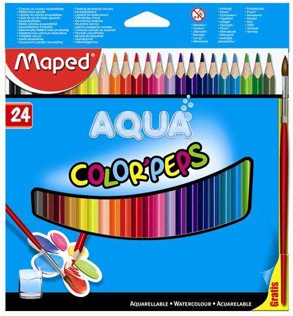 """Akvarelové ceruzky, trojuholníkový tvar, so štetcom, MAPED """"Color Peps"""", 24 rôznych farieb"""