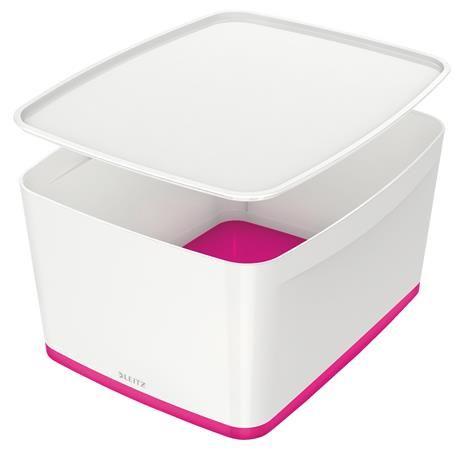 """Archivačná krabica, s vekom, veľká, LEITZ """"MyBox"""", biela-ružová"""