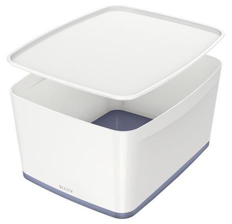 """Archivačná krabica, s vekom, veľká, LEITZ """"MyBox"""", biela-sivá"""