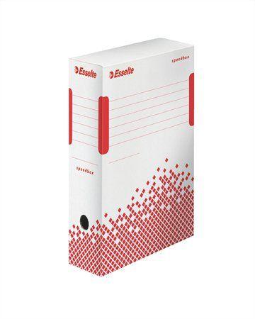 """Archívny box, A4, 100 mm, recyklovaný kartón, ESSELTE """"Speedbox"""", biely"""