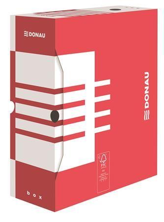 Archívny box, A4, 120 mm, kartón, DONAU, červený