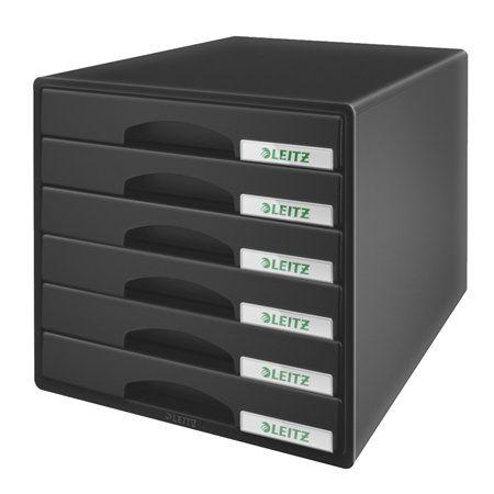 """Box na dokumenty, plastový, 6 zásuviek, LEITZ """"Plus"""", čierny"""