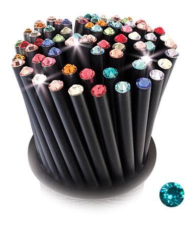 Ceruzky, 5 ks, s tyrkysovým krištáľom, 17 cm, Crystals from SWAROVSKI®, čierna