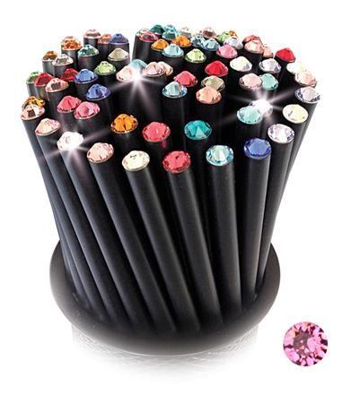 Ceruzky, 5 ks, so svetloružovým krištáľom, Crystals from SWAROVSKI®,  čierna