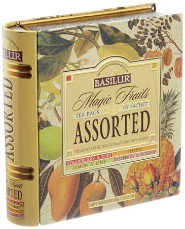 """Čierny čaj, porciovaný, kovová krabica v tvare knihy, """"BASILUR Magic Fruits Assorted"""""""