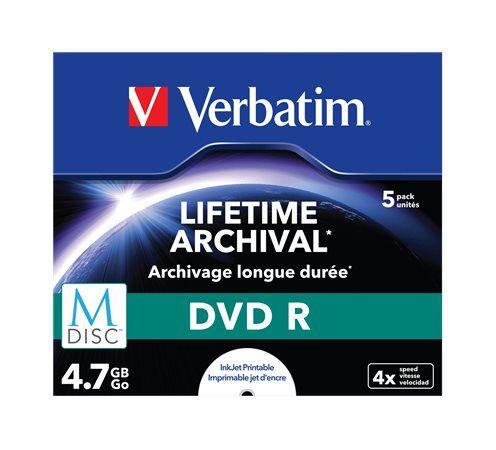 DVD R, archivačné, potlačiteľné, M-DISC, 4,7 GB, 4x, štandardný obal, VERBATIM