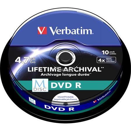 DVD-R archivačný disk, potlačiteľný cake box, M-DISC, 4,7GB, 4x, VERBATIM