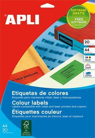 Etikety, 105x148 mm, farebné, APLI, zelené, 80 etikiet/bal