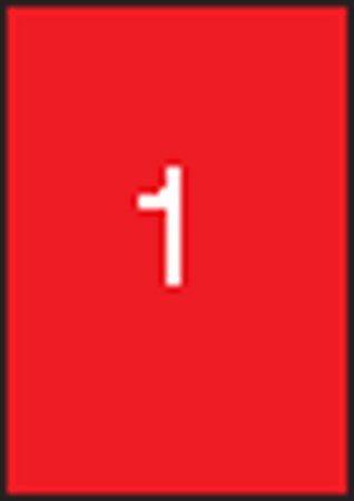 Etikety, 210x297 mm, farebné, APLI, červené, 100 etikiet/bal