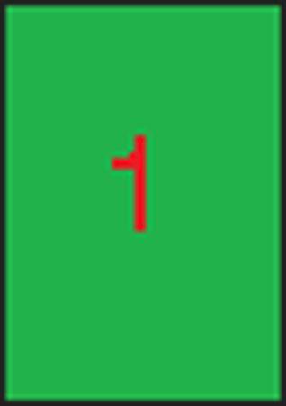 Etikety, 210x297 mm, farebné, APLI, neónové zelené, 100 etikiet/bal