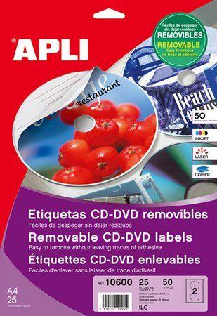 """Etikety, na CD/DVD, A4, matné, odlepovateľné, APLI """"Mega"""""""