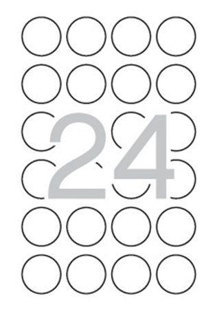 Etikety, okrúhle, priemer: 40 mm, bezpečnostné, zaoblené rohy, APLI, 240 etikiet/bal