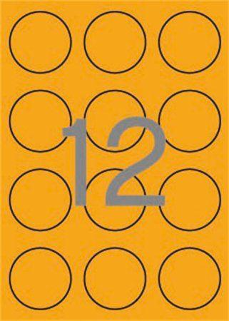 Etikety, okrúhle, priemer: 60 mm, farebné, APLI, neónovo oranžové, 240 etikiet/bal