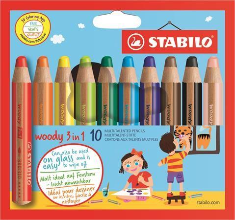 "Farebná ceruzka, hrubá, STABILO ""Woody"", 10 rôznych farieb"