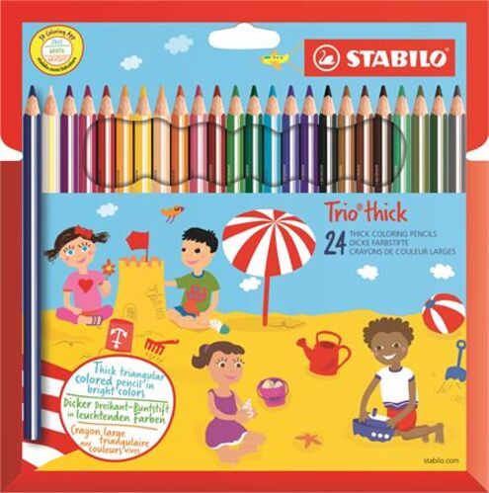 """Farebné ceruzky, hrubé, trojuholníkový tvar, so strúhadlom, STABILO """"Trio thick"""", 24 rôzny"""