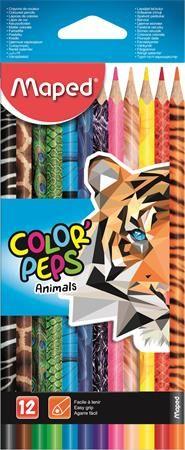 """Farebné ceruzky, sada, trojuholníkový tvar, MAPED """"Color`Peps Animal"""", 12 rôznych farieb"""