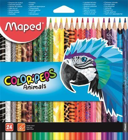 """Farebné ceruzky, sada, trojuholníkový tvar, MAPED """"Color`Peps Animal"""", 24 rôznych farieb"""