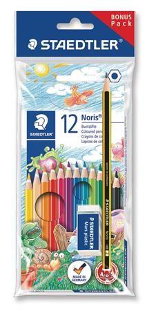 """Farebné ceruzky, šesťhranné, darček: grafitová ceruzka a guma, STAEDTLER """"Noris Club"""", 12"""