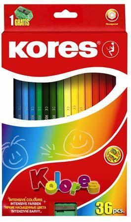 """Farebné ceruzky, šesťhranné, KORES """"Hexagonal"""", 36 rôznych farieb"""