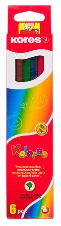 """Farebné ceruzky, trojuholníkový tvar, KORES """"Triangular"""", 6 rôznych farieb"""