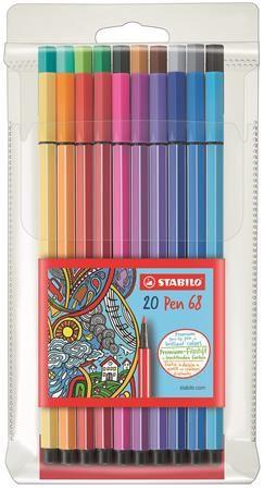 """Fixky, sada, 1 mm, STABILO """"Pen 68"""", 20 farieb"""