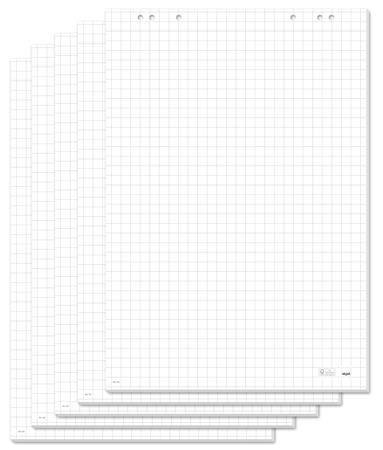 Flipchartový papier, s tabuľkami, 68x98 cm, 5x20 listov, SIGEL