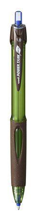 """Guľôčkové pero, 0,4 mm, tlačidlový systém ovládania, zeleno-hnedé telo, ekologické, UNI """""""
