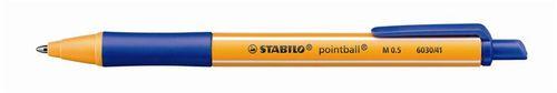 """Guľôčkové pero, 0,5 mm, tlačidlový sytém ovládania, STABILO """"Pointball"""", modré"""