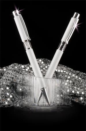 Guľôčkové pero, Crystals from SWAROVSKI®, biele, s bielymi krištáľmi v strede tela, 14cm