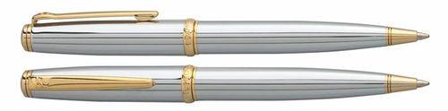"""Guľôčkové pero, rotačné, chrómové telo, zlatý klip, DANIEL HECHTER """"Challenger"""", modré"""