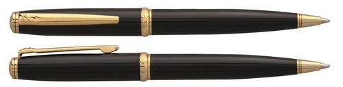 """Guľôčkové pero, rotačné, čierne telo, zlatý klip, DANIEL HECHTER """"Challenger"""", modré"""