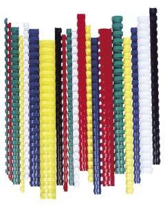 Hrebeň, plastový, 14 mm, 81-100 listov, FELLOWES, 100 ks, červený