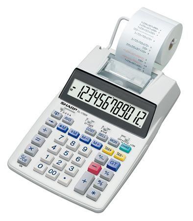 """Kalkulačka s tlačou, 12 miestny displej, 2 farebná tlač, SHARP """"EL-1750V"""""""