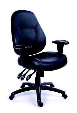 "Kancelárska stolička, nastaviteľné opierky, čierna bonded koža, čierny podstavec, MaYAH ""C"