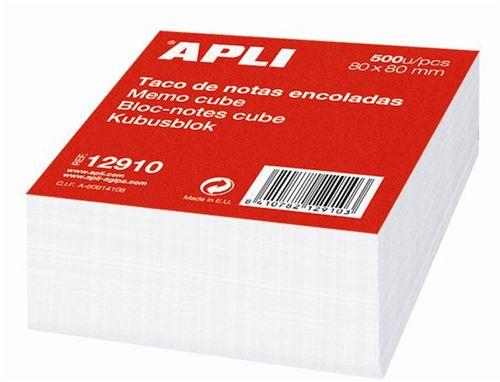 Kancelársky blok, 80x80 mm, lepený, APLI, biely