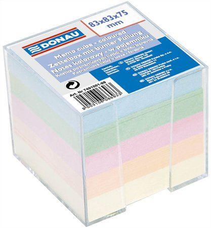 Kancelársky blok s dávkovačom, 83x83x75 mm, DONAU, farebný