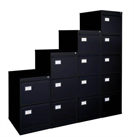 Kartotéka na závesné zakladacie dosky, 4 zásuvky, VICTORIA, čierna