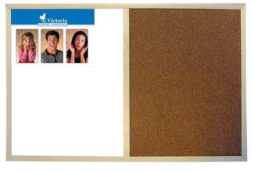 Kombinovaná tabuľa, 40x60 cm, drevený rám, VICTORIA