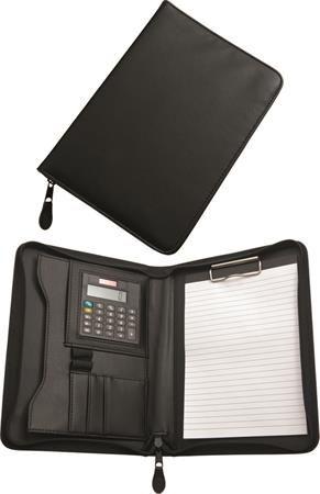 Konferenčná doska, A5, koženka, s kalkulačkou, so svorkou, čierne
