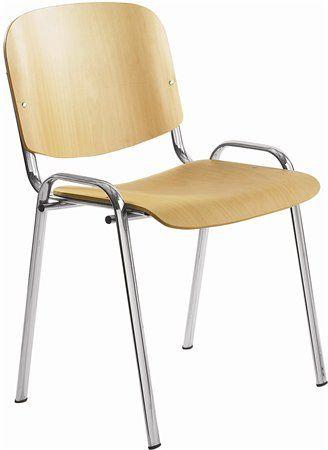 """Konferenčná stolička, drevené sedadlo, chrómový podstavec, """"1120 LC"""""""