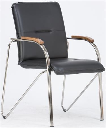 """Konferenčná stolička, koženka, chrómová oceľ, opierky rúk orech,  """"Sabina"""", čierna"""