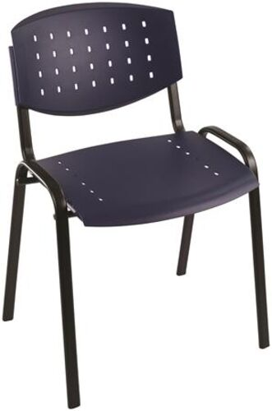 "Konferenčná stolička, ""TAURUS"", plastová s dierkami, tmavomodrá"