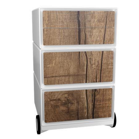 Kontajner na kolieskach, 4 zásuvky, PAPERFLOW, drevený vzor