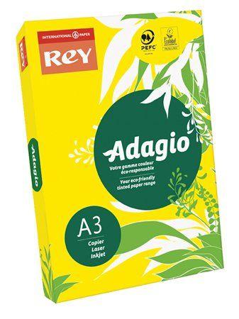 """Kopírovací papier, farebný, A3, 80 g, REY """"Adagio"""", intenzívny žltý"""