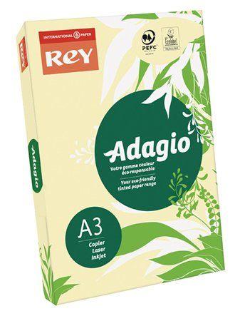 """Kopírovací papier, farebný, A3, 80 g, REY """"Adagio"""", pastelový žltý"""