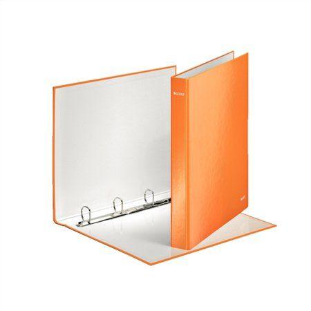 """Krúžkový šanón, 4 D krúžky, 40 mm, A4, kartón, lakový lesk, LEITZ """"Wow"""", oranžový"""