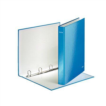 """Krúžkový šanón, 4 D krúžky, 40 mm, A4, kartón, lakový lesk, LEITZ """"Wow"""", modrý"""