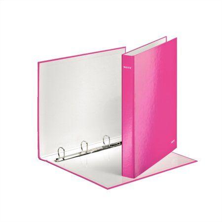 """Krúžkový šanón, 4 D krúžky, 40 mm, A4, kartón, lakový lesk, LEITZ """"Wow"""", ružový"""